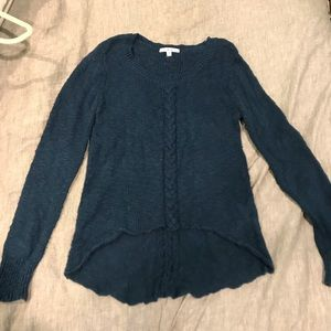 Indigo high-low sweater